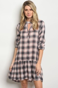 S10-17-5-T4058 PINK CHECKERED DRESS 2-2-2