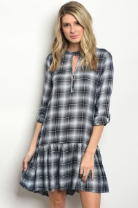 S11-20-2-T4058 NAVY CHECKERED DRESS 2-2-2