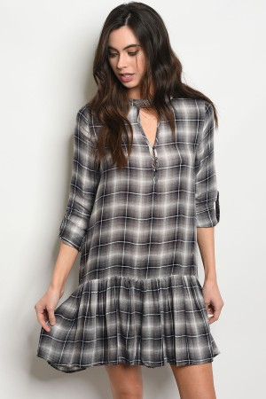 S10-17-5-T4058 BLACK CHECKERED DRESS 2-2-2
