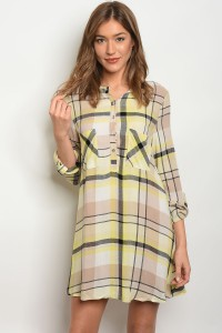 S7-3-3-T4206 YELLOW CHECKERED DRESS 2-2-2