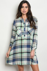 S7-3-3-T4206 BLUE CHECKERED DRESS 2-2-2