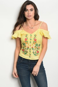 120-3-1-T06910 YELLOW FLOWER PRINT TOP 2-2-2