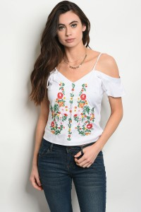 115-1-2-T06910 WHITE FLOWER PRINT TOP 2-2-2
