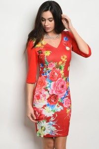 128-3-4-D8965 RED WITH FLOWER DRESS 2-2
