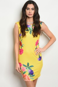 136-3-3-D10366 YELLOW FLORAL DRESS 2-2-2