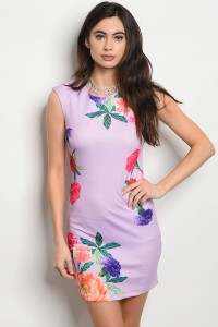 S3-10-4-D10366 LAVENDER FLORAL DRESS 2-2-2