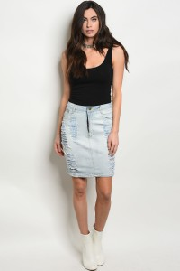 108-2-3-S1550 LIGHT BLUE DENIM SKIRT 2-2-2