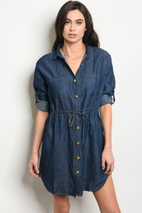 131-4-3-D1520 DARK BLUE DENIM DRESS 2-2-2