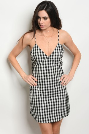 C56-A-2-D46472 BLACK CHECKERED DRESS 3-2-1