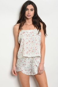 C72-B-1-S4559 IVORY FLORAL SHORT 1-2-1  ***TOP NOT INCLUDED**