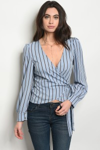 C78-A-5-T52101 BLUE NAVY STRIPES TOP 3-2-1