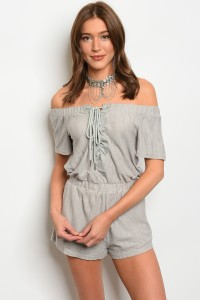 135-4-4-R71189 GRAY LACE-UP OFF SHOULDER ROMPER 3-1-1