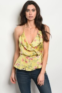 C86-A-3-T50173 MUSTARD FLORAL TOP 3-2-1