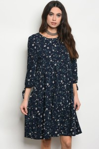240-1-5-D01451 NAVY WITH FLOWERS DRESS 1-2-2