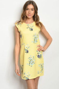 114-5-1-D1067 YELLOW FLORAL DRESS 2-2-2