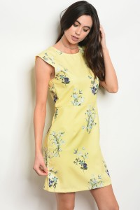 129-2-2-D1067 YELLOW FLORAL DRESS 2-1-1