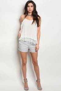 131-2-2-S1415 WHITE NAVY STRIPES SHORT 4-2-1