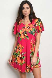 C85-A-4-D50007 FUCHSIA FLORAL DRESS 2-2-2