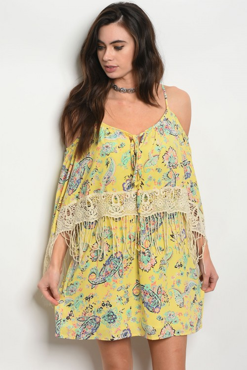 C13-A-2-D9109 YELLOW FLORAL DRESS 2-2-2-1