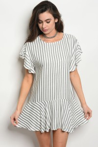 C28-A-6-D1012 OFF WHITE STRIPES DRESS 2-2-2