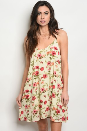 C48-A-2-D1023 YELLOW FLORAL DRESS 2-2-2