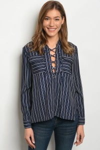 124-3-4-T21327 NAVY WHITE STRIPES TOP 2-2-2