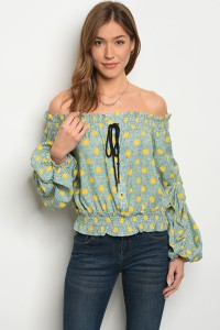 S11-10-2-T21744 GREEN WITH YELLOW DOTS OFF SHOULDER TOP 2-2-2