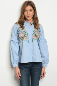 135-4-4-T21808 BLUE WITH FLOWER TOP 2-2-2