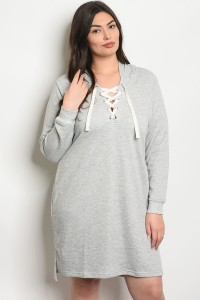S10-7-2-D51656X GRAY PLUS SIZE DRESS 2-2-2
