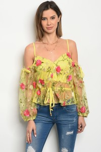 S9-12-2-T05852 YELLOW EMBROIDERY TOP 2-2-2