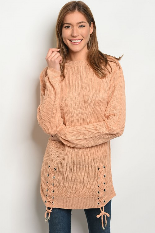 S14-4-4-S1711 PEACH LIGHT SPRING KNIT SWEATER 3-3