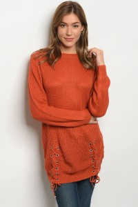 114-1-3-S1711 ORANGE LIGHT SPRING KNIT SWEATER 3-3