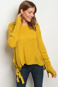 S2-6-4-S1703 MUSTARD LIGHT SPRING KNIT SWEATER 3-3