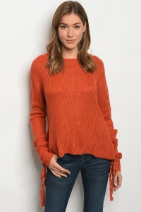 126-1-3-S1703 ORANGE LIGHT SPRING KNIT SWEATER 1-5