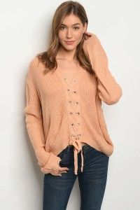 126-1-3-S1708 PEACH LIGHT SPRING KNIT SWEATER 1-2