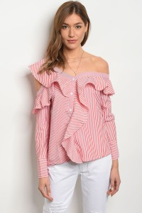 S12-9-3-T20810 RED WHITE STRIPES OFF SHOULDER TOP 1-2-2