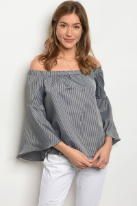 S9-15-3-T20355 BLACK GREY STRIPES OFF SHOULDER TOP 2-2-2