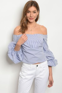 S12-8-3-T21058 NAVY WHITE STRIPES OFF SHOULDER TOP 2-2-2