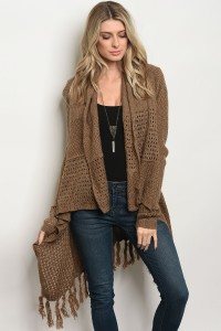 S9-13-3-C14839 BROWN CARDIGAN 4PCS