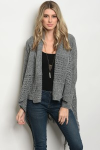 126-1-5-C14839 HEATHER GREY CARDIGAN 3PCS