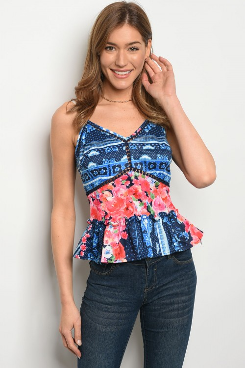 106-5-2-T06960 NAVY FLORAL TOP 2-2-2