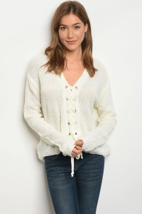 128-3-3-S1708 IVORY SWEATER / 4PCS