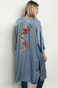 126-3-2-NA-C70089 INDIGO WITH FLOWER PRINT CARDIGAN 2-2-2