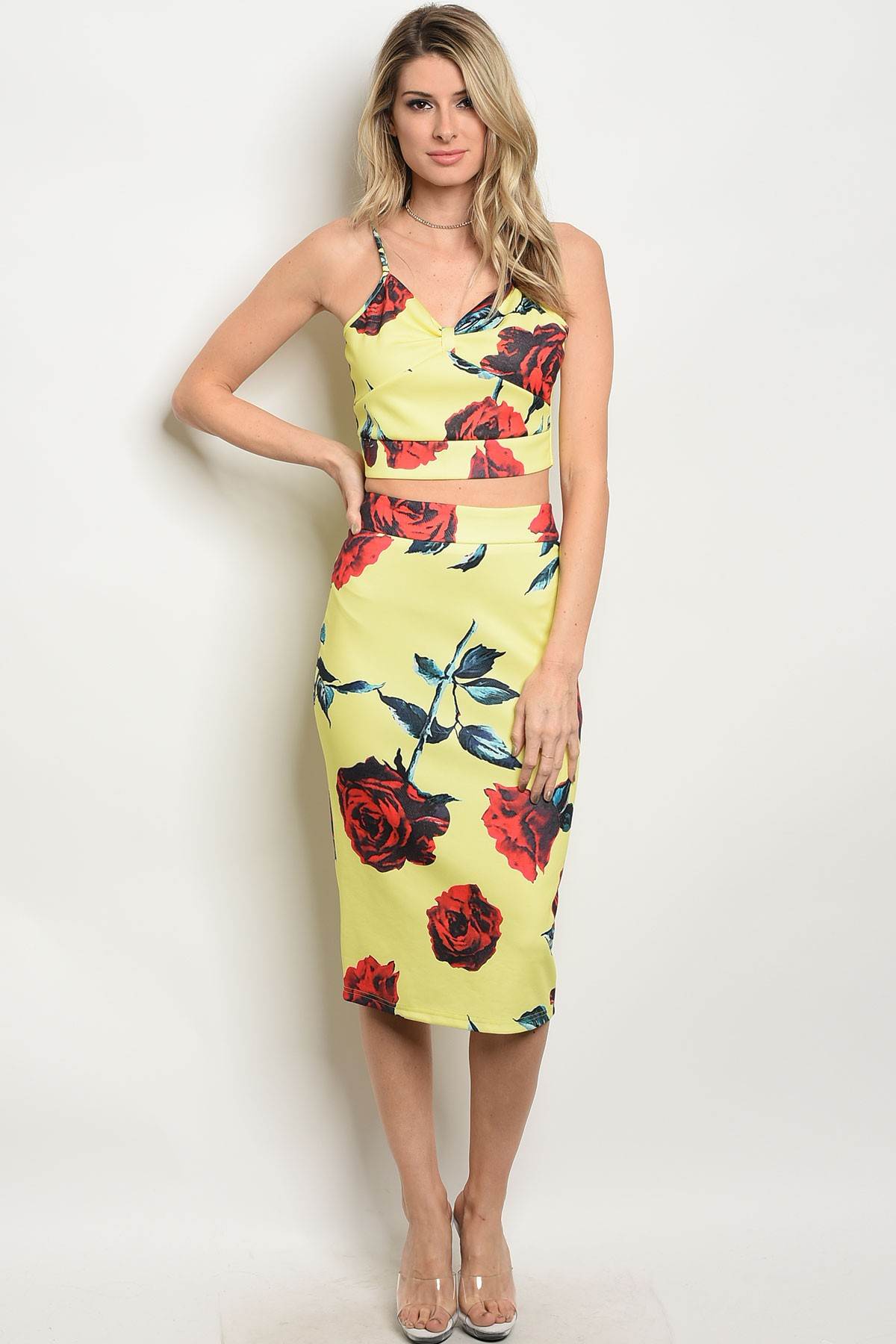 5bf530f42bb S20-2-1-SET-F8002 YELLOW RED FLORAL TOP   SKIRT SET · Larger Photo ...