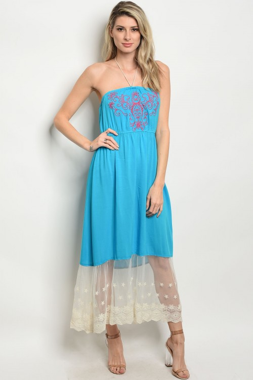 S14-6-4-D3558 TURQUOISE CORAL DRESS 1-2-2