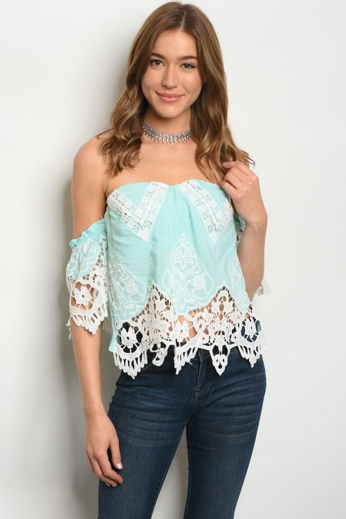 105-1-2-T30058 MINT WHITE TOP 2-2-2