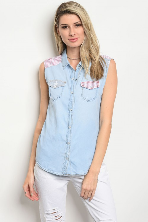 106-6-2-T7209-U LIGHT BLUE DENIM TOP 3-2-2