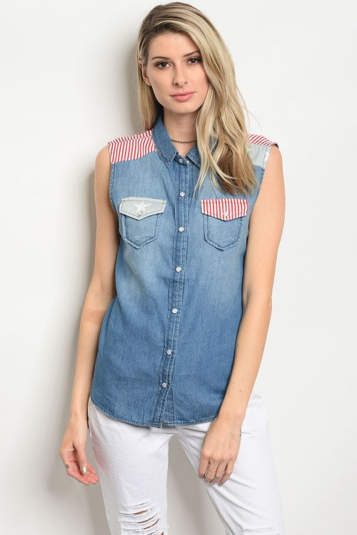 106-6-2-T209-M DARK BLUE DENIM TOP 1-2-4