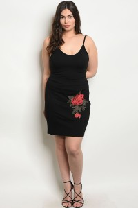 C55-B-3-SZ8899X BLACK WITH FLOWER PATCH PLUS SIZE SKIRT 2-2-2