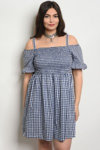 C30-A-5-DCD5639X NAVY WHITE CHECKERED PLUS SIZE DRESS 2-2-2